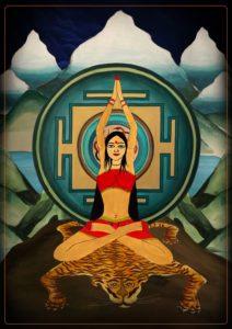 A Painting of a Yogini performing Vrata Ashtanga Yoga.