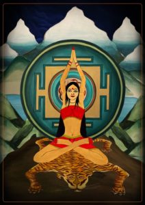 A Painting of a Yogini performing Vrata Ashtanga Yoga.
